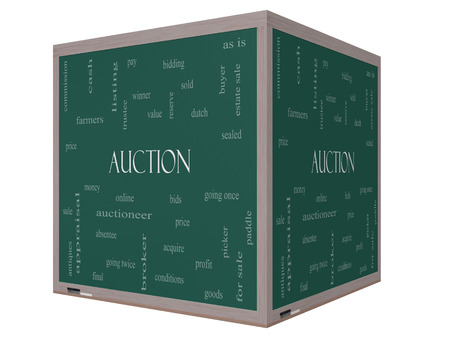 online bidding: Auction Word Cloud Concept on a 3D cube Blackboard with great terms such as price, bidding, online and more.