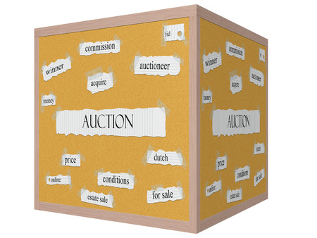 acquire: Auction 3D cube Corkboard Word Concept with great terms such as bid, acquire, winner and more. Stock Photo