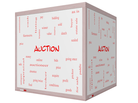 online bidding: Auction Word Cloud Concept on a 3D cube Whiteboard with great terms such as price, bidding, online and more.