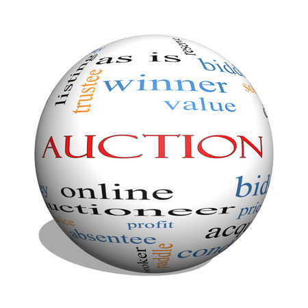 bidding: Auction 3D sphere Word Cloud Concept with great terms such as price, bidding, online and more. Stock Photo