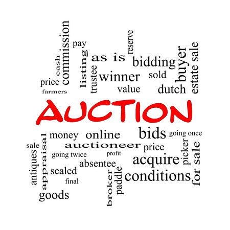 Auction Word Cloud Concept in red caps with great terms such as price, bidding, online and more.