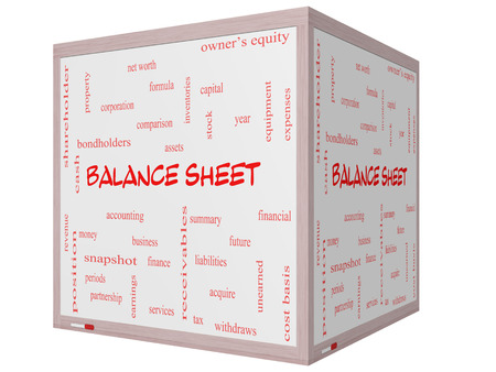 financial assets: Balance Sheet Word Cloud Concept on a 3D cube Whiteboard with great terms such as financial, assets, tax and more. Stock Photo