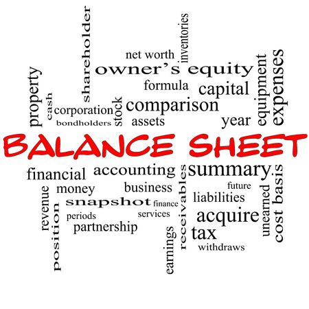 financial assets: Balance Sheet Word Cloud Concept in red caps with great terms such as financial, assets, tax and more.