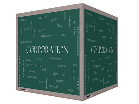 stockholders: Corporation Word Cloud Concept on a 3D cube Blackboard with great terms such as shareholders, legal, entity and more.