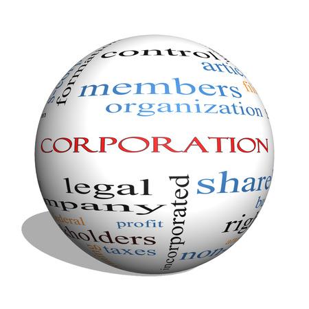 株式会社 3 D 球単語雲概念株主、法的、エンティティなど偉大な用語。 写真素材