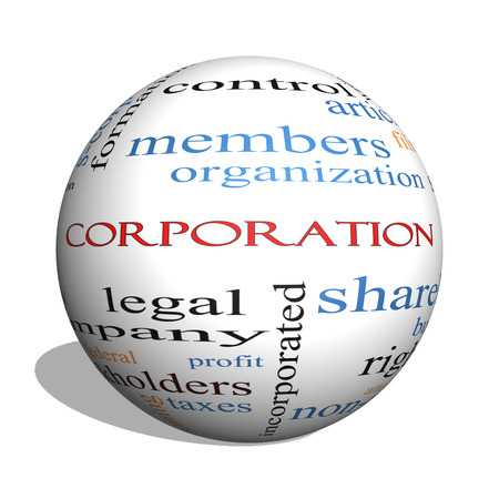ownership and control: Corporation 3D sphere Word Cloud Concept with great terms such as shareholders, legal, entity and more.
