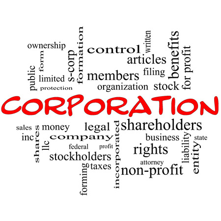 stockholders: Corporation Word Cloud Concept in red caps with great terms such as shareholders, legal, entity and more. Stock Photo