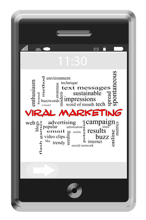 Viral Marketing Word Cloud Concept of Touchscreen Phone with great terms such as web, buzz, trendy and more. photo