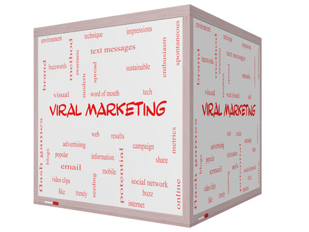 Viral Marketing Word Cloud Concept on a 3D cube Whiteboard with great terms such as buzz, trendy, advertising and more. photo