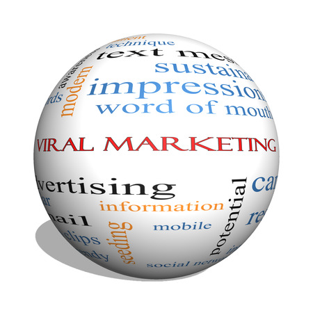 Viral Marketing 3D sphere Word Cloud Concept on a Blackboard with great terms such as buzz, trendy, advertising and more. photo