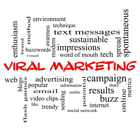 buzzwords: Viral Marketing Word Cloud Concept in red caps with great terms such as buzz, trendy, advertising and more.