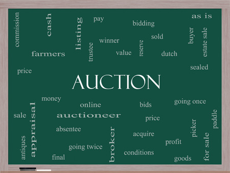 absentee: Auction Word Cloud Concept on a Blackboard with great terms such as price, bidding, online and more.