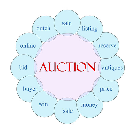 auction win: Auction concept circular diagram in pink and blue with great terms such as reserve, price, sale and more.
