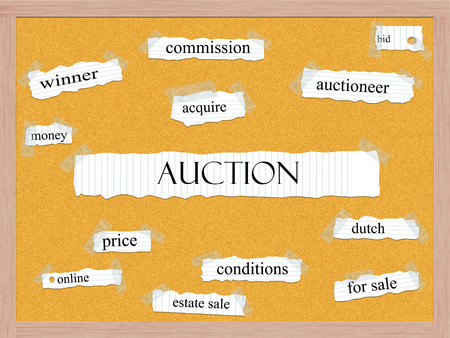 acquire: Auction Corkboard Word Concept with great terms such as bid, acquire, winner and more.