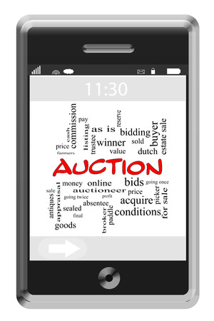 Auction Word Cloud Concept of Touchscreen Phone with great terms such as bid, price, win and more.