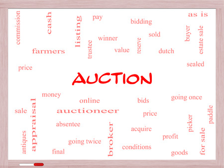 absentee: Auction Word Cloud Concept on a Whiteboard with great terms such as price, bidding, online and more.