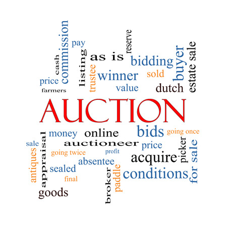 online bidding: Auction Word Cloud Concept with great terms such as price, bidding, online and more. Stock Photo