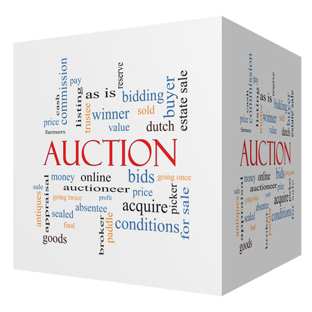 absentee: Auction 3D cube Word Cloud Concept with great terms such as price, bidding, online and more. Stock Photo