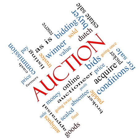 bidding: Auction Word Cloud Concept angled with great terms such as price, bidding, online and more. Stock Photo