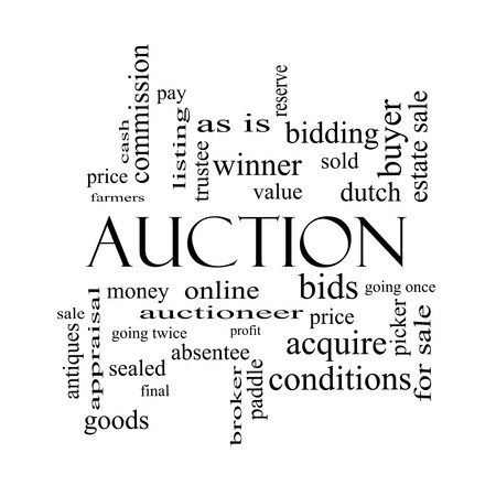 online bidding: Auction Word Cloud Concept in black and white with great terms such as price, bidding, online and more.
