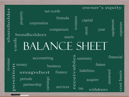 financial assets: Balance Sheet Word Cloud Concept on a Blackboard with great terms such as financial, assets, tax and more.