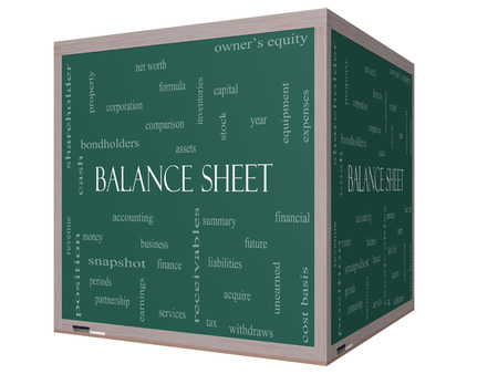 financial assets: Balance Sheet Word Cloud Concept on a 3D cube Blackboard with great terms such as financial, assets, tax and more. Stock Photo