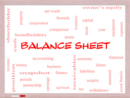 financial assets: Balance Sheet Word Cloud Concept on a Whiteboard with great terms such as financial, assets, tax and more. Stock Photo