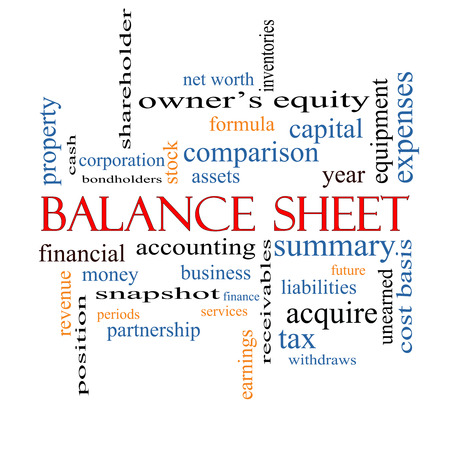Balance Sheet Word Cloud Concept with great terms such as financial, assets, tax and more. photo