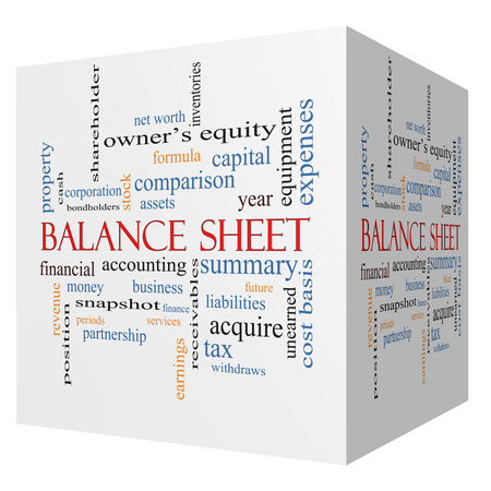 Balance Sheet 3D cube Word Cloud Concept with great terms such as financial, assets, tax and more.