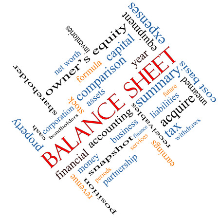 financial assets: Balance Sheet Word Cloud Concept angled with great terms such as financial, assets, tax and more. Stock Photo