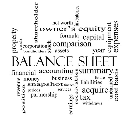 financial assets: Balance Sheet Word Cloud Concept in black and white with great terms such as financial, assets, tax and more. Stock Photo