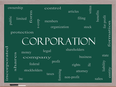 stockholders: Corporation Word Cloud Concept on a Blackboard with great terms such as shareholders, legal, entity and more.