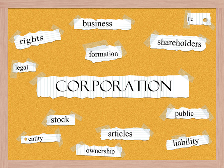 articles: Corporation Corkboard Word Concept with great terms such as business, public, articles and more. Stock Photo