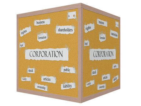 articles: Corporation 3D cube Corkboard Word Concept with great terms such as business, public, articles and more. Stock Photo