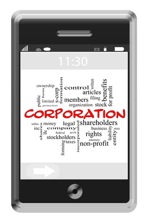 stockholders: Corporation Word Cloud Concept of Touchscreen Phone with great terms such as shares, business, entity and more. Stock Photo