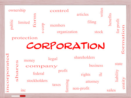 stockholders: Corporation Word Cloud Concept on a Whiteboard with great terms such as shareholders, legal, entity and more.