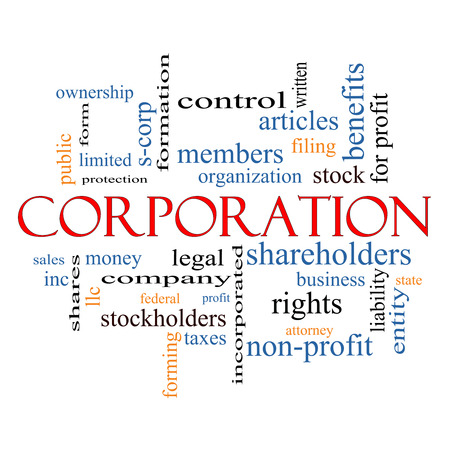 Corporation Word Cloud Concept with great terms such as shareholders, legal, entity and more.