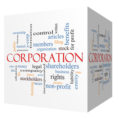 stockholders: Corporation 3D cube Word Cloud Concept with great terms such as shareholders, legal, entity and more.