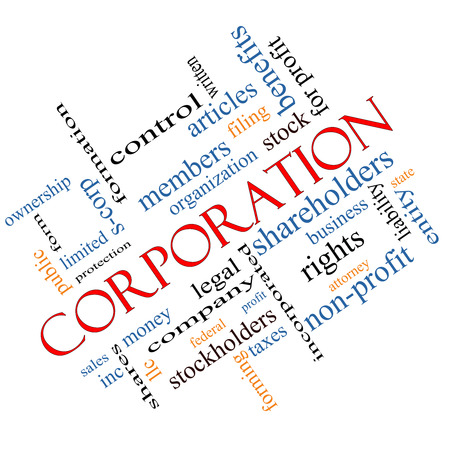 Corporation Word Cloud Concept angled with great terms such as shareholders, legal, entity and more.
