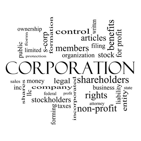 ownership and control: Corporation Word Cloud Concept in black and white with great terms such as shareholders, legal, entity and more. Stock Photo