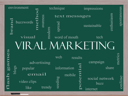 buzzwords: Viral Marketing Word Cloud Concept on a Blackboard with great terms such as buzz, trendy, advertising and more.