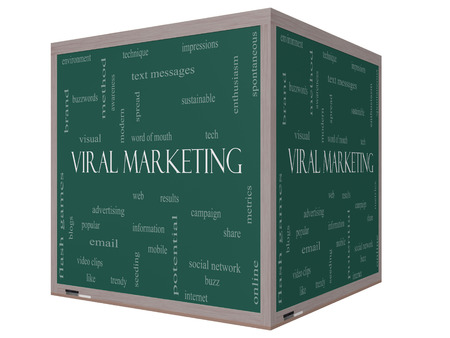 buzzwords: Viral Marketing Word Cloud Concept on a 3D cube Blackboard with great terms such as buzz, trendy, advertising and more. Stock Photo