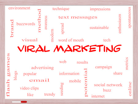 Viral Marketing Word Cloud Concept on a Whiteboard with great terms such as buzz, trendy, advertising and more.