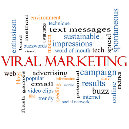 Viral Marketing Word Cloud Concept on a Blackboard with great terms such as buzz, trendy, advertising and more. photo