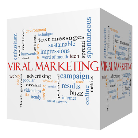 Viral Marketing 3D cube Word Cloud Concept on a Blackboard with great terms such as buzz, trendy, advertising and more. photo