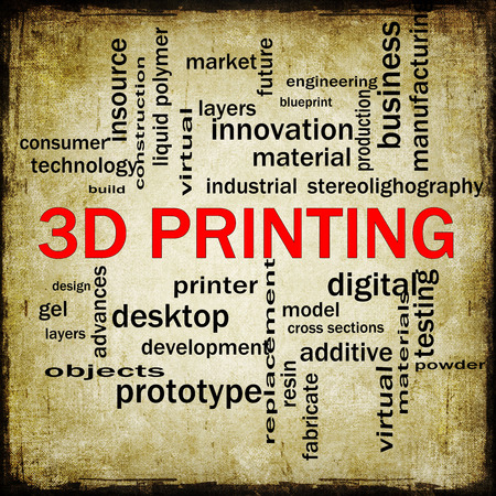3D Printing Grunge Word Cloud Concept with great terms such as digital, layers, model and more. photo