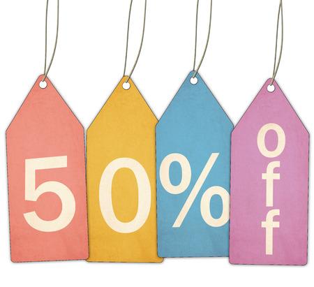 赤、黄色、青、および紫テクスチャ販売タグ偉大なコンセプト作りを離れて 50% を示します。