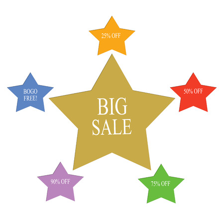 bogo: Big Sale Word Stars Concept with great terms such as BOGO, free, 25% off and more.
