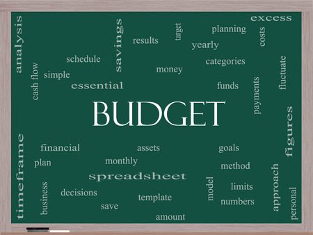 categories: Budget Word Cloud Concept on a Blackboard with great terms such as categories, goals, assets and more. Stock Photo