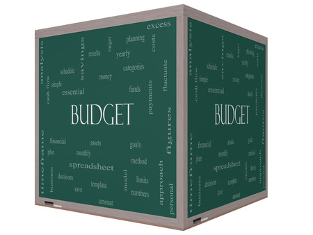 Budget Word Cloud Concept on a 3D cube Blackboard with great terms such as categories, goals, assets and more. photo